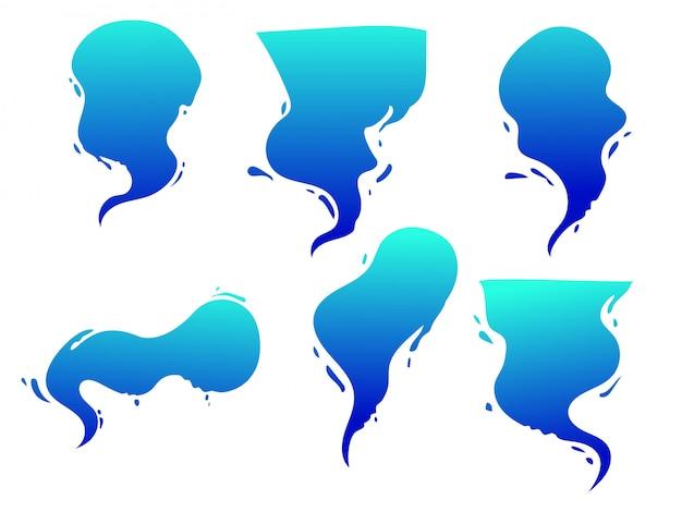 Мультфильм пузырь, комикс пузырь с формой брызг воды, эффект воды