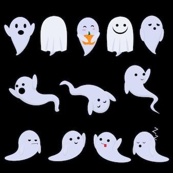 Милые призраки веселятся на вечеринке в честь хэллоуина - они танцуют, гримасничают, гримасничают