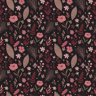 花のベクトルのシームレスなパターン。暖かいカラーパレット。葉の花の組成