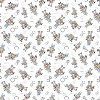素敵なベクトルロボットのシームレスパターン