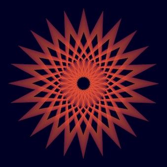 Закругленный красный уникальный фон сакральной геометрии