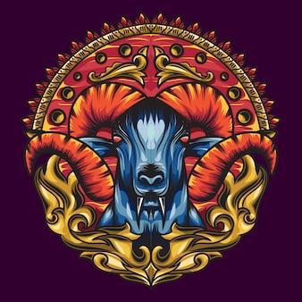 神話ヤギの色の美しいブレンドで神聖な幾何学。