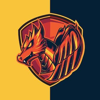 赤いドラゴンとシールドのテーマでゲームのロゴをエスポートしてください。火のように薄い赤