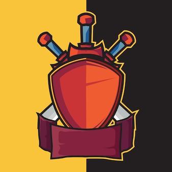 バッジシールドとエスポートロゴデザイン要素の刀