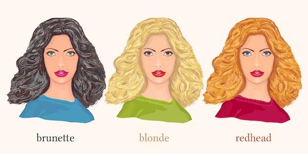 Красивые женщины, блондинка, брюнетка и рыжая