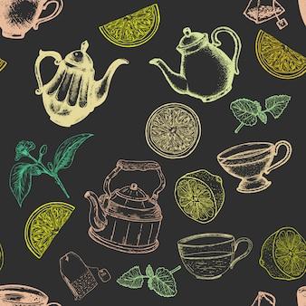 お茶のシームレスなパターン