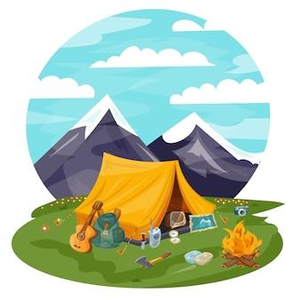 山の観光テント