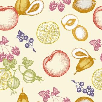 フルーツのシームレスパターンインク手描きベクトルイラスト