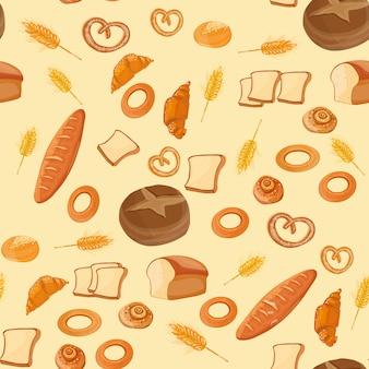 パン屋さんのシームレスなパターンの壁紙