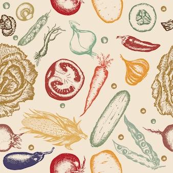 シームレスパターン手描き野菜