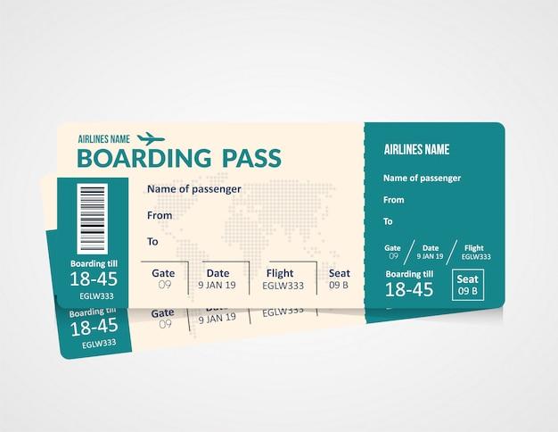 Билет на самолет, шаблон посадочного талона авиакомпании.