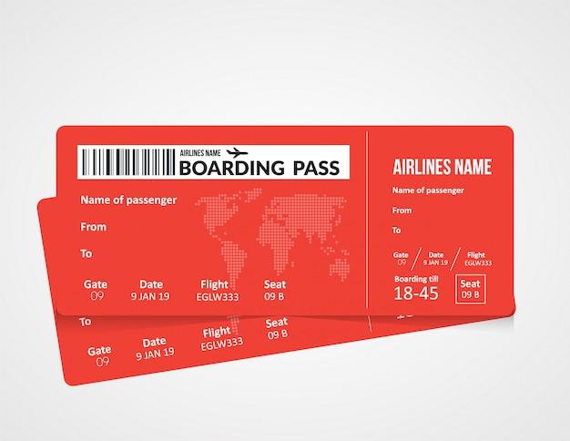 飛行機のチケット、航空会社の搭乗券のテンプレート。