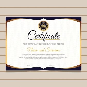 エレガントなブルーとゴールドの卒業証明書テンプレート