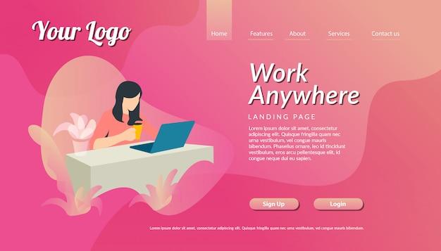 ラップトップイラストランディングページテンプレートを持つ女性