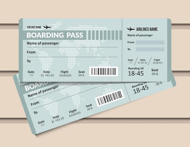 Билет на самолет. шаблон посадочного талона авиакомпании. аэропорт и самолет пропускают документ.