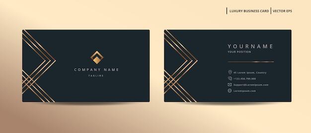 ゴールドスタイルのシンプルなテンプレートを持つ高級デザイン名刺