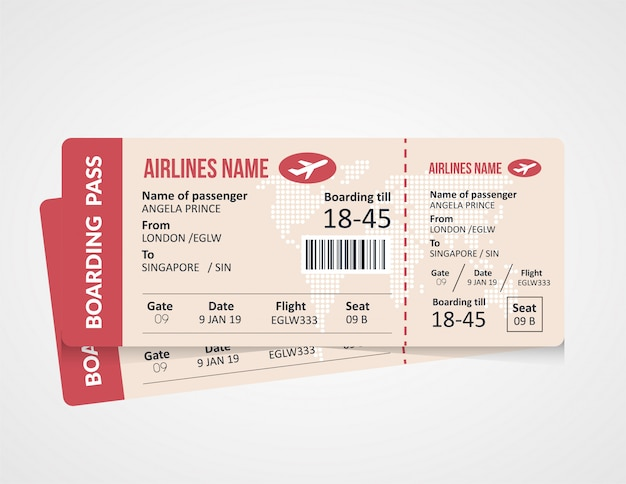 航空会社の搭乗券のテンプレート