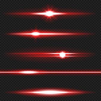 Красный горизонтальный объектив с бликами. лазерные лучи, горизонтальные лучи света