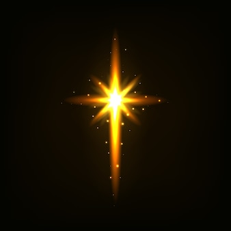 明るいオレンジ色の十字架。光、輝きます。