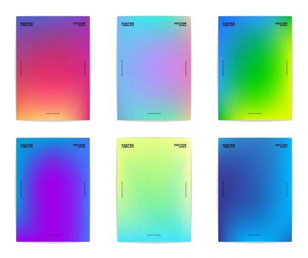 六つの抽象的なポスターテンプレート。カラフルなグラデーション