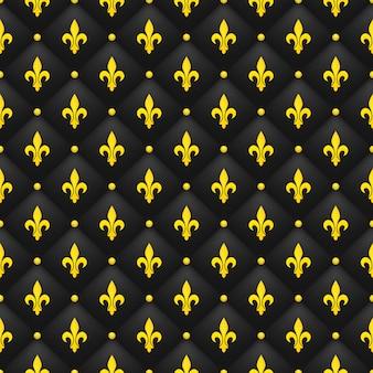 黒のキルティングのゴールデンアヤメとシームレスなパターン。高級ロイヤルの壁紙。