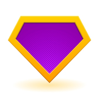 黄金と紫のスーパーヒーローのロゴのテンプレート。