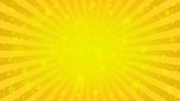明るい黄色の光線の背景、たくさんの星。サンバーストコミックス、ポップアートスタイル