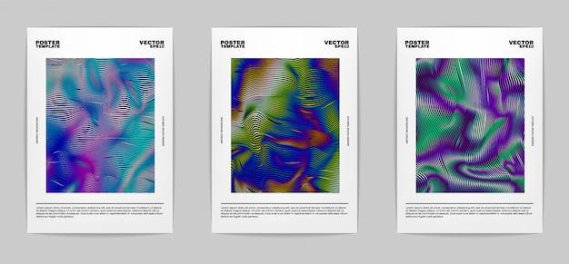 モダンな抽象的なポスターのセット。コレクションをカバーしています。カラフルな明るいストライプ、鮮やかなグラデーション。