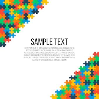 画像の隅にカラフルなパズル。明るい抽象的なフレーム、あなたのテキストのための場所。