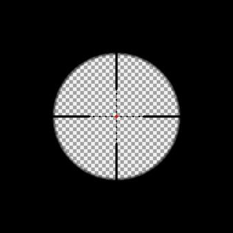 透明な背景の上に狙撃スコープオーバーレイ。