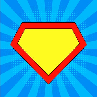 Шаблон логотипа супергероя на ярко-синем фоне поп-арт.