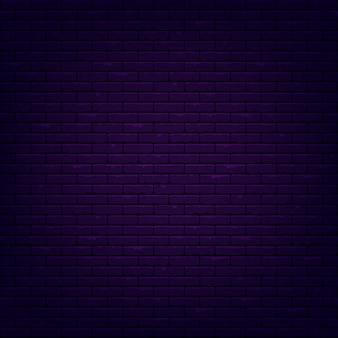 レンガ壁の背景。照らされた質感。暗いネオンの光。