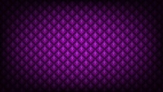 明るい紫色のマルディグラの背景。キルティングのロイヤル高級テクスチャでアヤメシンボル。