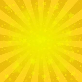 明るい黄色の光線の背景、たくさんの星。サンバーストコミックスタイル