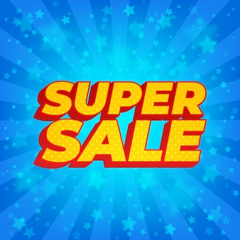 Супер распродажа баннер. яркие синие лучи солнечных лучей со звездами. стиль комиксов.