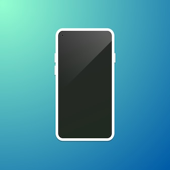 カメラに面しているディスプレイ前面の下にあるベゼルのないスマートフォンの概念図