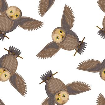 茶色のフクロウとのシームレスなパターン
