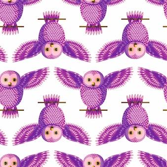紫フクロウとのシームレスなベクターパターン。