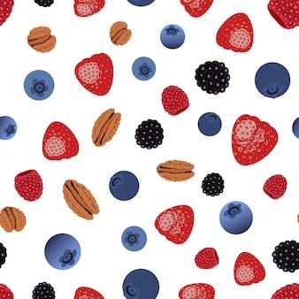 果実とナッツのシームレスなパターンベクトル。