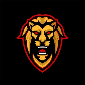 Шаблон логотипа талисмана льва эспорта