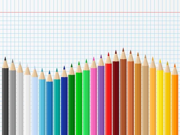 Фон с цветными карандашами