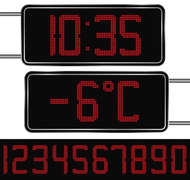 Цифровые часы и термометр