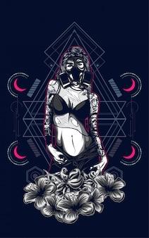 Сексуальная девушка с татуировкой