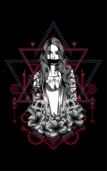 Женщины с татуировкой и черепом