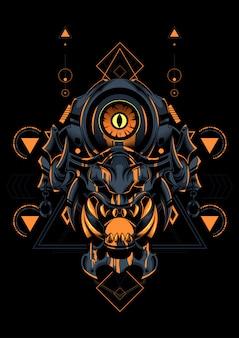 悪魔の顔の神聖な幾何学