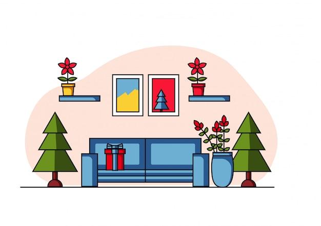 Рождественская сцена плоской иллюстрации