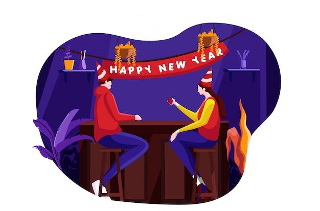 Новый год празднование плоской иллюстрации