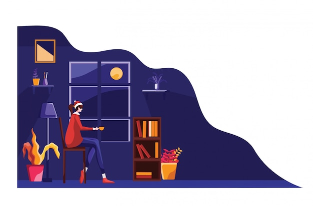 Празднование рождества плоской иллюстрации
