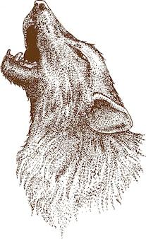 オオカミの点描画
