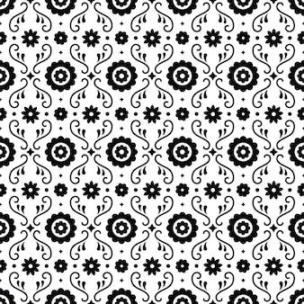 Картина мексиканского народного искусства безшовная с цветками на белой предпосылке. традиционный дизайн для фиесты. цветочные декоративные элементы из мексики. мексиканский фольклорный орнамент.